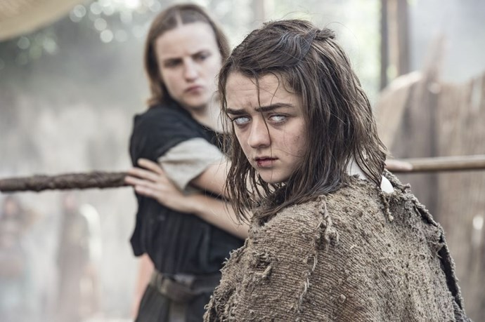 """**Arya Stark / Maisie Williams** <br> <br> """"The contact lenses when Arya goes blind were really uncomfortable. But they looked incredible! They looked great on camera."""""""