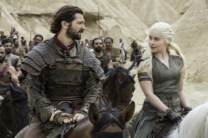 "**Daario Naharis / Michiel Huisman** <br> <br> ""On *Game of Thrones*, one of the challenges has been wearing these beautiful, but really hot and heavy costumes. Especially if you're shooting in August. I often throw just cubes of ice in the back of my costume, because I can't just take it off. It takes longer to take it off than it takes to put it on. I've been begging them to use Velcro. Velcro, please! Thank you very much. But *Game of Thrones* wouldn't be *Game of Thrones* if they didn't go all the way. They want to use real stuff. No Velcro."""