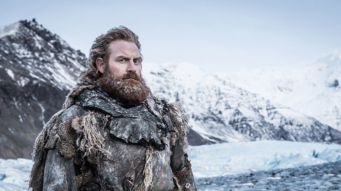 """**Tormund Giantsbane / Kristofer Hivju** <br> <br> """"When you fight people, that has some kind of logic. But when you have to fight wights, they just keep coming. There's no end to it. There's just trying to survive. That gives you a desperate feeling. What we did—because we couldn't choreograph every single kill—so Rowley [Irlam], the stunt coordinator, made up an alphabet for every one of us. We had seven movements we could play with. The stuntmen knew the language as well, so we just went for it. In the beginning, it was tough, but in the end it became a kind of horrible dance. It was extremely exhausting: They just kept coming, kept coming, kept coming. That was some great cardio training."""""""