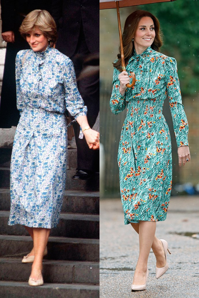 Lady Diana at her wedding rehearsal at Westminster Abbey in July 27, 1981; Kate visiting the Sunken Garden in the grounds of Kensington Palace, which is dedicated to Diana, in a Prada dress on August 30, 2017.