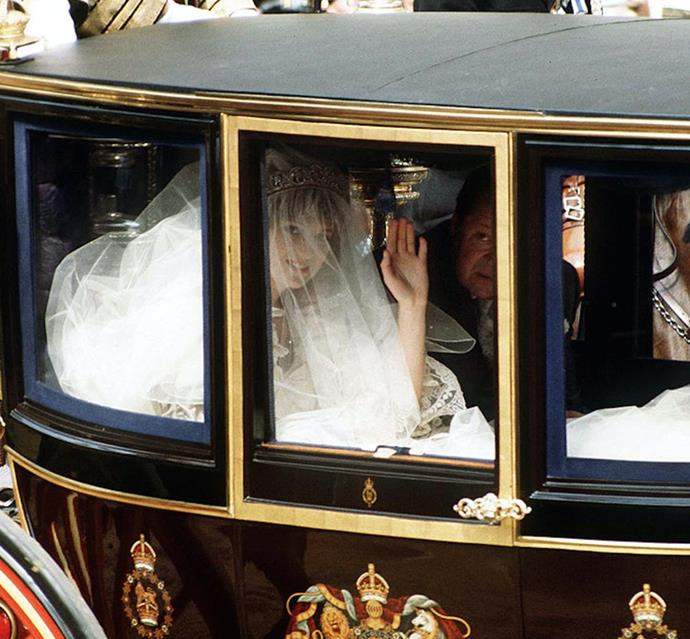 **Her gown barely fit in the carriage.** <br><br> According to David Emanuel, Diana kept asking for a larger and larger train. While the team practiced folding the excess fabric, the bulk of taffeta eventually got crushed in the glass coach she took to St. Paul's Cathedral. The cramped ride caused the visible wrinkles upon her arrival, Elizabeth Emanuel told *Daily Mail*.