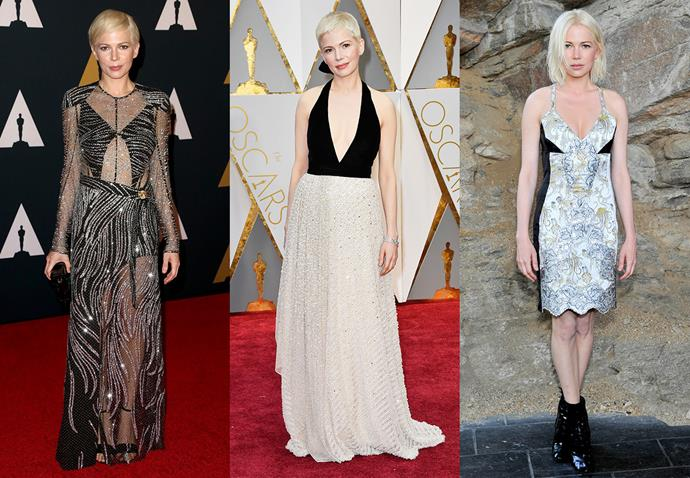 **Michelle Williams and Louis Vuitton**<br><br> If you kept an eye on Michelle Williams during awards season earlier this year, you would have noticed that the mother-of-one never wears anything but Louis Vuitton.