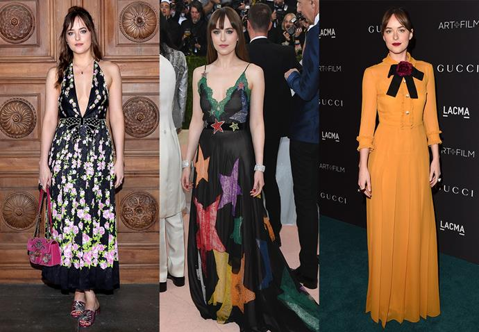 **Dakota Johnson and Gucci**<br><br> Since she stepped onto the scene a few years ago, Johnson has been a faithful follower of Alessandro Michele's brand of OTT at Gucci.