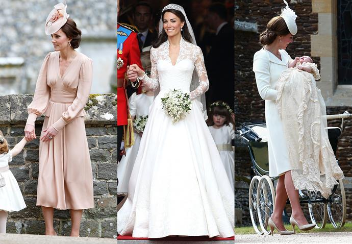 **Catherine, Duchess of Cambridge, and Alexander McQueen**<br><br> Although Kate Middleton is fairly diplomatic in her fashion choices, the mother-of-two (soon to be three!) always gravitates to Sarah Burton's work at Alexander McQueen for important events, including her wedding dress, her maid-of-honour dress for her sister, Pippa's, wedding, and her christening ensemble of Princess Charlotte.