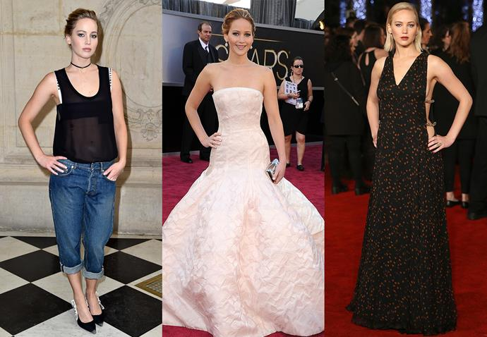 **Jennifer Lawrence and Dior**<br><br> Over several years, Jennifer Lawrence has built a successful brand relationship with Dior, which she wears for almost every red carpet event.