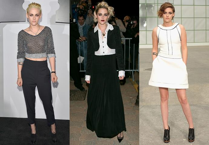 **Kristen Stewart and Chanel**<br><br> Although, once upon a time, she might not have been classified as a traditional Chanel girl, Stewart personal brand of edgy punk has clashed beautifully with Chanel.
