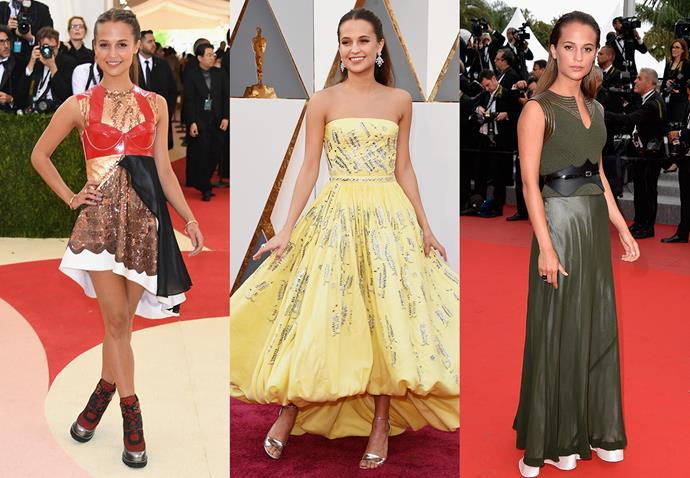 **Alicia Vikander and Louis Vuitton**<br><br> [Bride-to-be](http://www.elle.com.au/celebrity/alicia-vikander-michael-fassbender-ibiza-wedding-14254) Alicia Vikander is such a fan of Ghesquière's work at Louis Vuitton, she had him make her Oscars gown.
