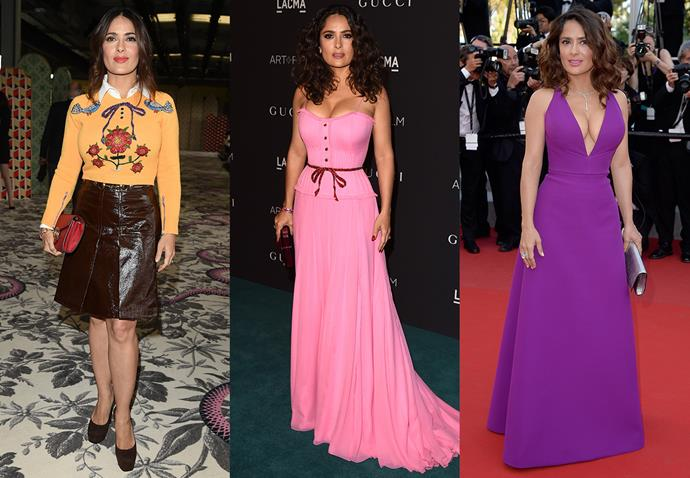 **Salma Hayek and Gucci**<br><br> Being married to the CEO of the company that owns Gucci doesn't exactly hurt, but Salma Hayek's love affair with Gucci goes beyond the business.
