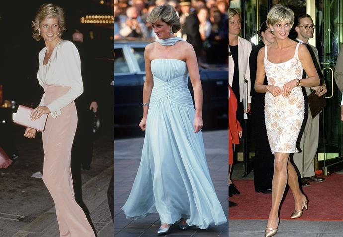 **Diana, Princess of Wales, and Catherine Walker**<br><br> Like her daughter-in-law, Diana was very diplomatic in the brands she chose to dress her, but she always turned to her friend, designer Catherine Walker, for big events—including her iconic blue gown at the Cannes Film Festival.