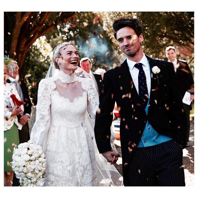 "**Pandora Sykes** <br><br> Pandora Sykes, a fashion writer, journalist and podcaster, wore a custom Alice Temperley gown when she [married Ollie Triton](http://www.harpersbazaar.com.au/bazaar-bride/fashion-editor-pandora-sykes-wedding-album-13211) in April 2016. The fun bit about her dress? ""The coolest feature is probably the fact that it's two dresses in one,"" Sykes told [*Harper's BAZAAR*](http://www.harpersbazaar.com/wedding/bridal-fashion/news/a15285/pandora-sykes-wedding-dress/). ""For the dinner and dance, I am wearing the shorter version of the gown."" Her short blonde bob was pulled back into sweet braids for her big day. <br><br> To finish her look, Sykes accessorised with gold strappy sandals from Miu Miu, a veil also from Temperley, and sapphire drop earrings by Kirsty Patterson that were a present from her mother."