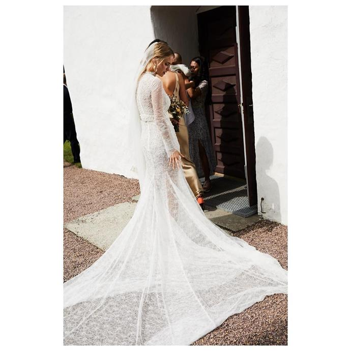 **Pernille Teisbaek** <br><br> The Danish stylist, street style star and author [got married](http://www.harpersbazaar.com.au/bazaar-bride/pernille-teisbaek-wedding-pictures-denmark-14155) to Philip Lotko in a long-sleeve, embellished Vera Wang dress, with a customised belt and veil by Weddings by Gudnitz, and Manolo Blahnik heels. To offset the glamour of her dress, Teisbaek wore her hair in a casual, low, half-looped ponytail.