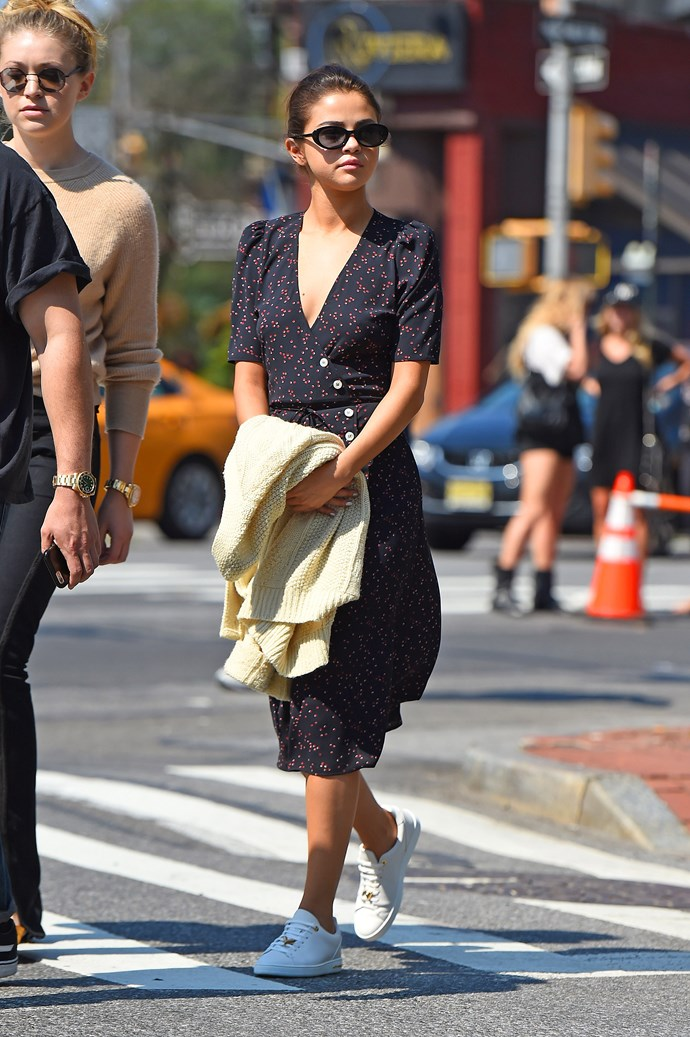**September 5th, 2017**  Selena wore a dress by cult French label Rouje (founded by It-girl Jeanne Damas) while out and about in New York.