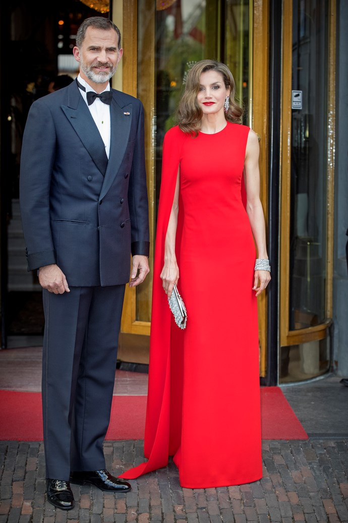 **Queen Letizia Of Spain**<br><br>  Queen Letizia wears Stella McCartney.