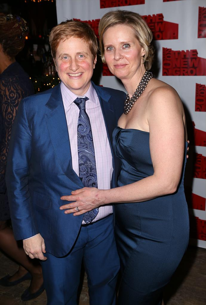 **Cynthia Nixon and Christine Marinoni** <br><br> Nixon began dating education activist Christine Marinoni in 2004 and later got married in 2012. They share one son.