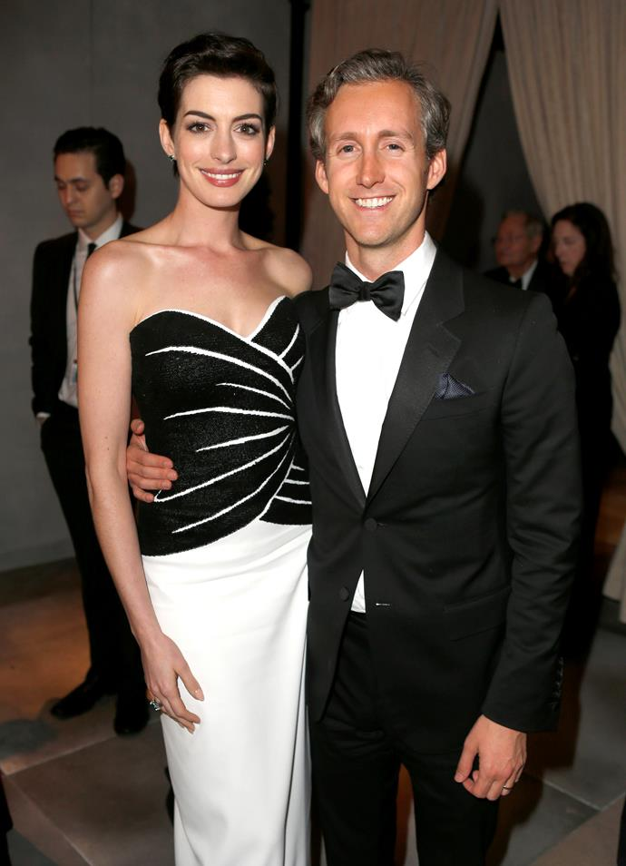 """**Anne Hathaway and Adam Shulman** <br><br> Hathaway and Shulman started dating in 2008 and eventually got married in 2012. Shulman is a producer and jewellery designer. The pair met through a mutual friend, their connection was so strong at the time, Hathaway apparently told her friend """"I'm going to marry that man."""" The two welcomed their first born last year."""