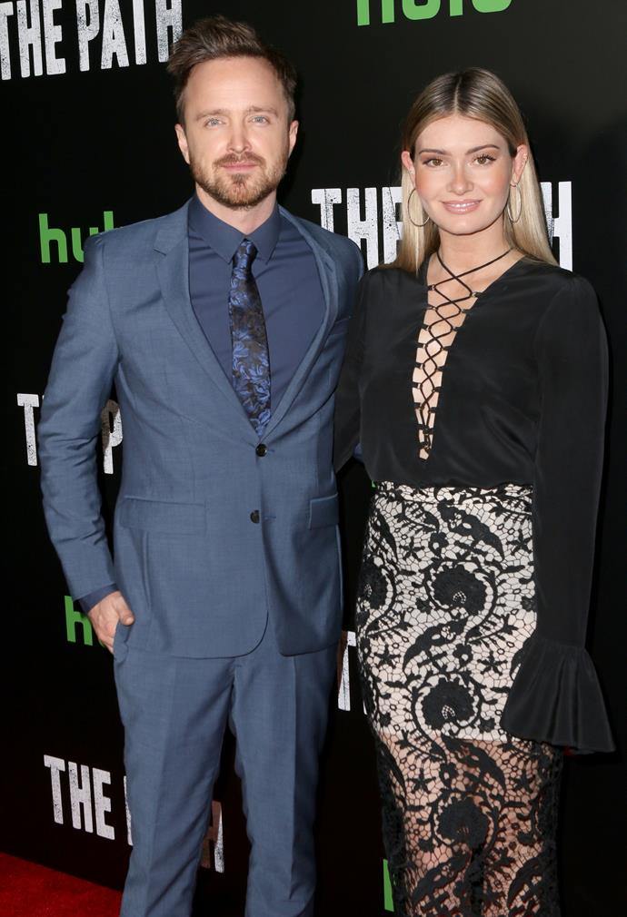 """**Aaron Paul and Lauren Parkesian** <br><br> Parkesian is a director. Paul met Parkesian at a Coachella Music Festival. """"We fell in love at Coachella,"""" he said. """"We had our first kiss on a ferris wheel at Coachella."""" The pair got married in 2013."""