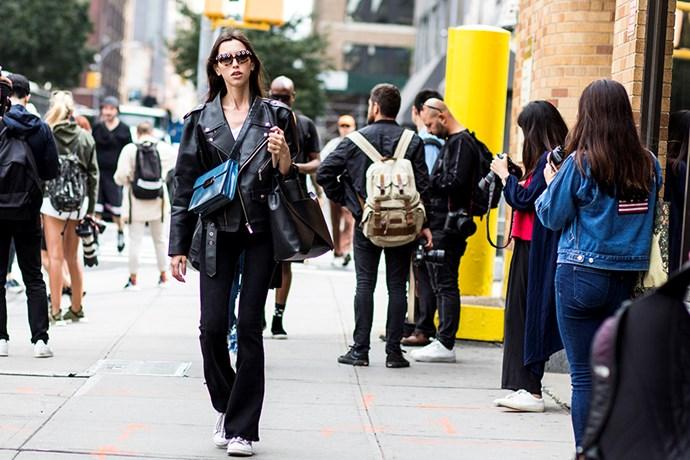 Street style at New York fashion week SS18.<br><br>  Image: Jason Lloyd-Evans