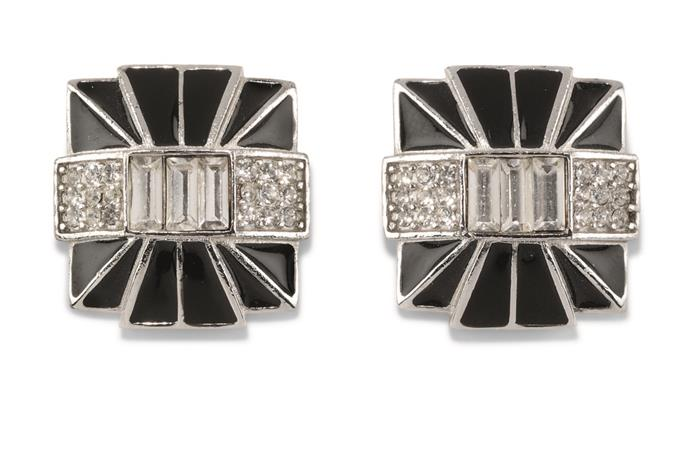 Audrey Hepburn's black enamel Givenchy earrings from the '80s.