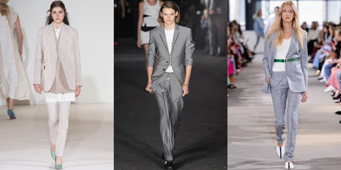 **50 Shades Of Suiting**  Last season ushered in a series of oversized suiting, in various shade, and Spring 2018 is promising the trend will continue-on a trimmer scale. One thing's for sure: you should own a straight-legged suit in your favourite light neutral tone.   *From left: Victoria Beckham, Alexander Wang and Tibi Spring 2018.*