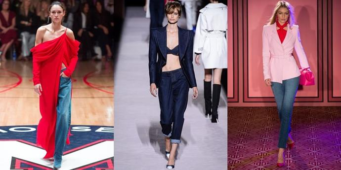 **Designer Denim**  Typically, designers leave denim to the experts. But for Spring, each of NYFW's key names (including Tom Ford, Adam Lippes and Brandon Maxwell) have tackled the textile, styling it with their version of the best ways to wear it.   *From left: Monse, Tom Ford and Brandon Maxwell Spring 2018.*