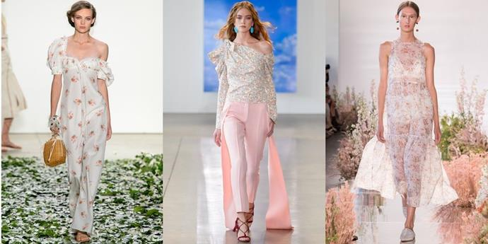 **Micro Florals**  First there were abstract blooms, and then Dutch Masters inspired printe followed. After that, bold floral prints a la Gucci won the day, and now it seems that more petite, feminine buds are on the rise for a sweeter note.   *From left: Brock Collection, Hellesey and Ulla Johnson Spring 2018.*
