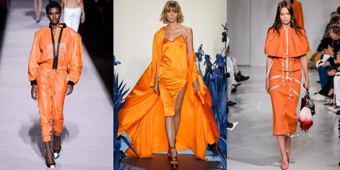 **A L'Orange**  Highlighter hues are coming in hot for Spring 2018—with hot pink (seen above) and bright orange strutting almost every runway. But, don't be so quick to toss out your bold reds from Autumn—according to designers like Cushnie et Ochs and Brandon Maxwell, who showed complementary brights in their shows, they'll mix in well with these warm tones.   *Left left: Tom Ford, Adam Selman and Calvin Klein Spring 2018. *