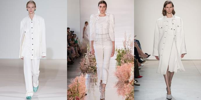 **White Out**  With monochrome going nowhere and denim being used in drove, head-to-toe alabaster (at times in denim as well) is a natural fit to the Spring 2018 mix. But, rather than New England prep, next season's white jeans reference more formal feels—like sleek suiting and romantic Victoriana.   *From left: Victoria Beckham, Ulla Johnson and Dion Lee Spring 2018.*