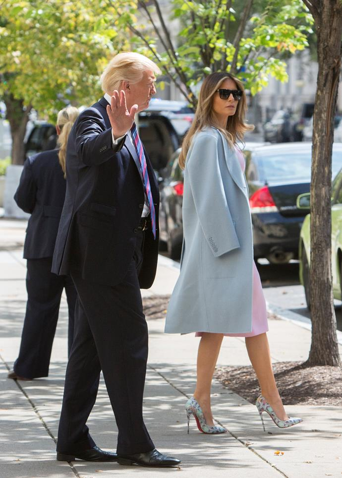 Melania wore a knee-length blush pink dress, powder blue cot and printed heels to attend a church service for victims of Hurricane Harvey in Texas.