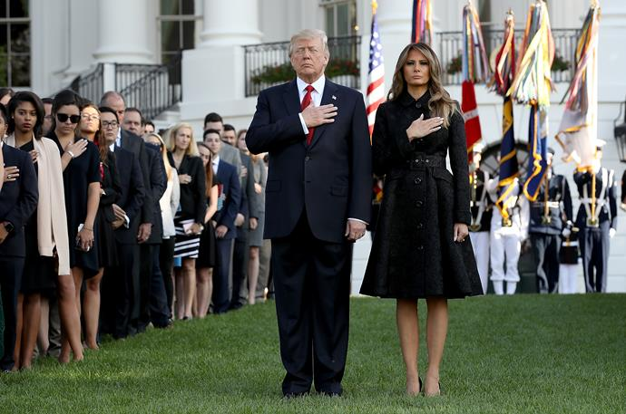 Melania opted for a black Michael Kors skirt suit to pay respect to victims on the anniversary of the September 11th terrorist attacks.