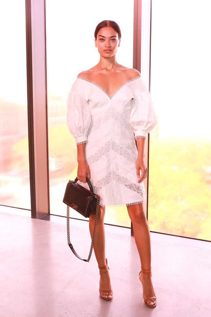 Shanina Shaik sitting front row at Zimmermann spring summer '18. <br><br>  Image: BFA Courtesy Zimmermann
