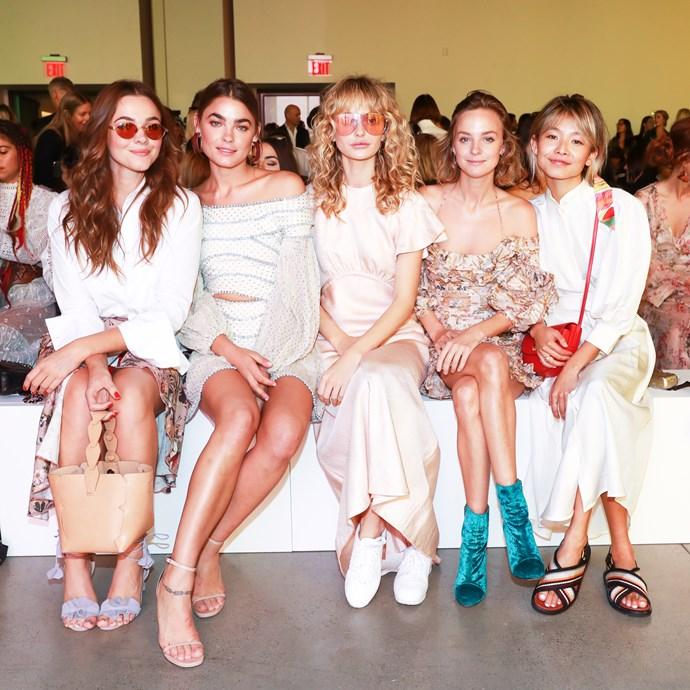 Demi Harman, Bambi Northwood-Blyth XX, Nadia Fairfax and Yan Yan Chan sitting front row at Zimmermann spring summer '18. <br><br>  Image: BFA Courtesy Zimmermann