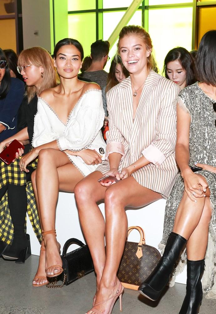 Shanina Shain and Nina Agdal sitting front row at Zimmermann spring summer '18. <br><br>  Image: BFA Courtesy Zimmermann