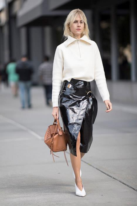 Feel like a patent leather skirt is a little S&M for the office? Not when you pair it with a prim, high-zipped knit like this. Keep the skirt below the knee if your colleagues are on the conservative side.