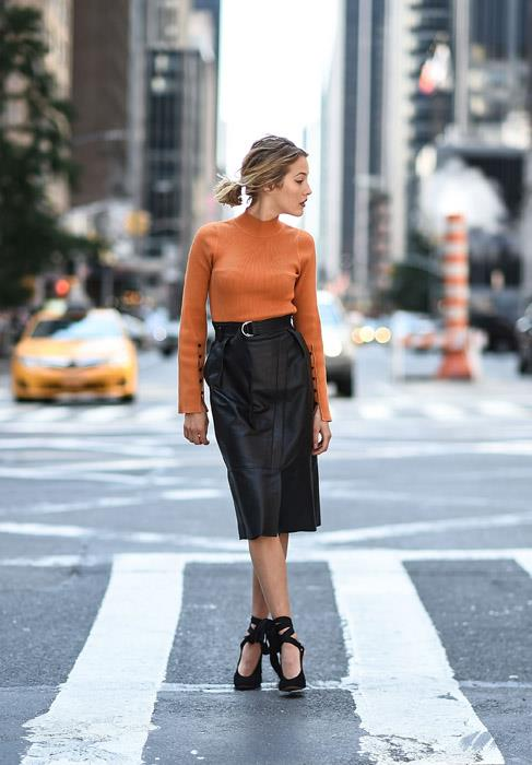 The humble skivvy is the basis of many a workwear wardrobe, but inject a bit of life into yours by opting for an on-trend colour (orange, [Gen Z yellow](http://www.elle.com.au/fashion/gen-z-yellow-14325) or [lilac](http://www.harpersbazaar.com.au/fashion/the-spring-2018-trends-to-know-now-14290)) and team with an attention-getting pair of ankle-wrapped pumps.