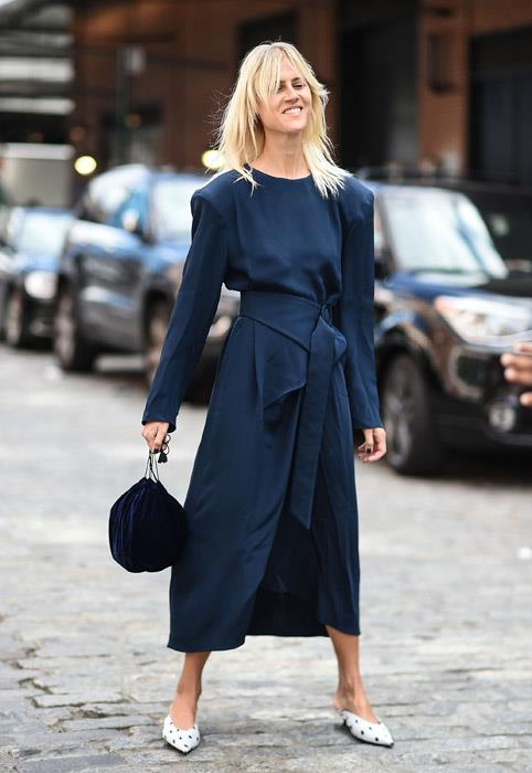 Perfect for when your working day calls for day-to-night versatility, every career girl should own at least one knock-out navy dress. Opt for one with interesting pleat-and-fold detail, then team with a quirky mule or flat to avoid looking too *corporate* (shudder).