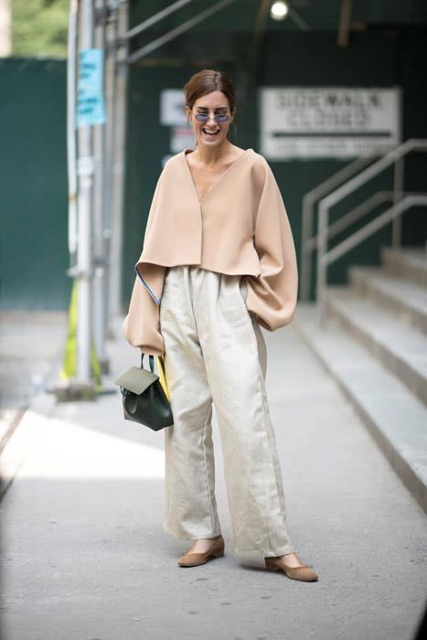 An oversized knit worn with wide legged trousers could look frumpy, but when done in the same shade head-to-toe the look is pulled together yet effortless.