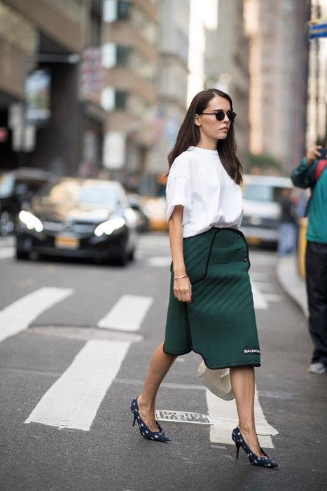 Grab your boyfriend's plain white tee. An oversized, box-fresh T-shirt makes the perfect contrast to a ladylike pencil skirt. Add printed pumps if you're feeling a little extroverted.