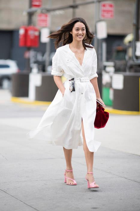 For work or play, there's nothing better than a simple white shirt dress. Wear cinched at the waist, then up the ante with an unexpected pop of colour south of the ankle.