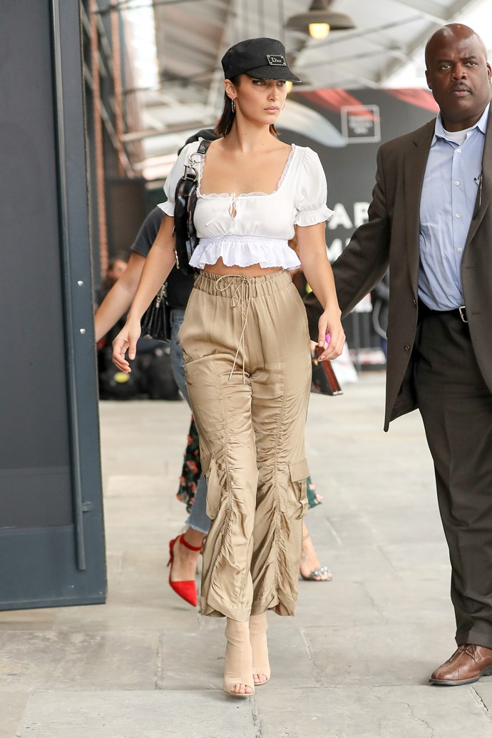 **Daisy & Manning Cartell** <br><br> Bella wore a peasant-style cropped blouse by Australian label [Daisy](http://daisydaisy.tv/shop/) and ruched [Manning Cartell](http://www.manningcartell.com.au/off-duty-pant-7504.html) trousers while leaving the Jason Wu show in New York.<br><br>  Image: Splash