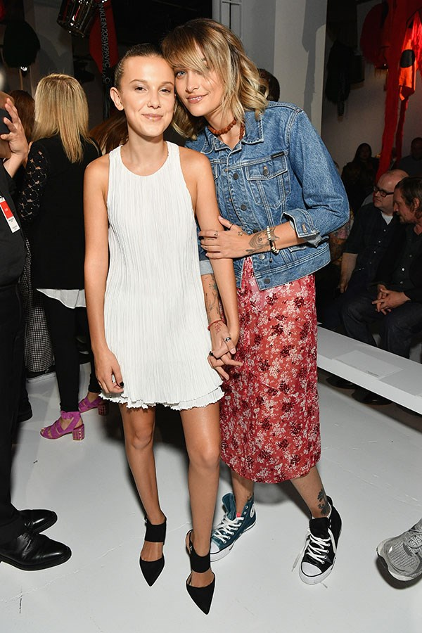 Millie Bobby Brown and Paris Jackson at Calvin Klein