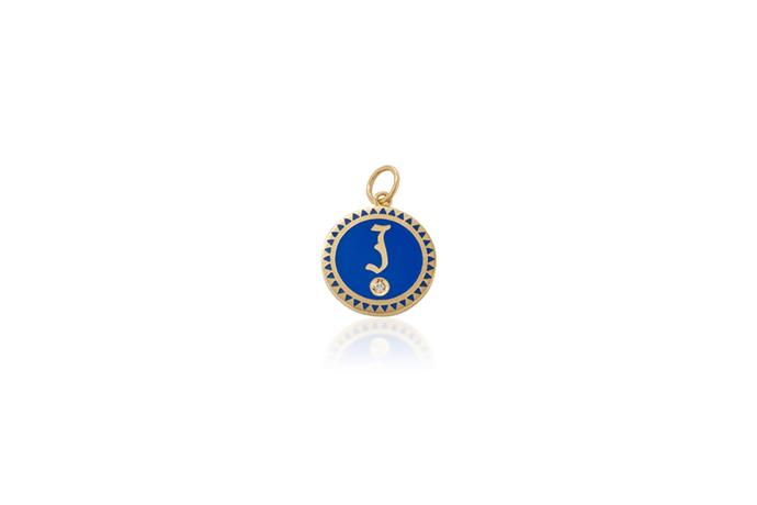 Initialled pin, $1,295 Foundrae at [Moda Operandi](https://www.modaoperandi.com/foundrae-fw17/champleve-enamel-initial-medallion-in-blue) <br><br> Worn inside your dress or as a locket, a initialled pin gives your 'something blue' a personalised update.