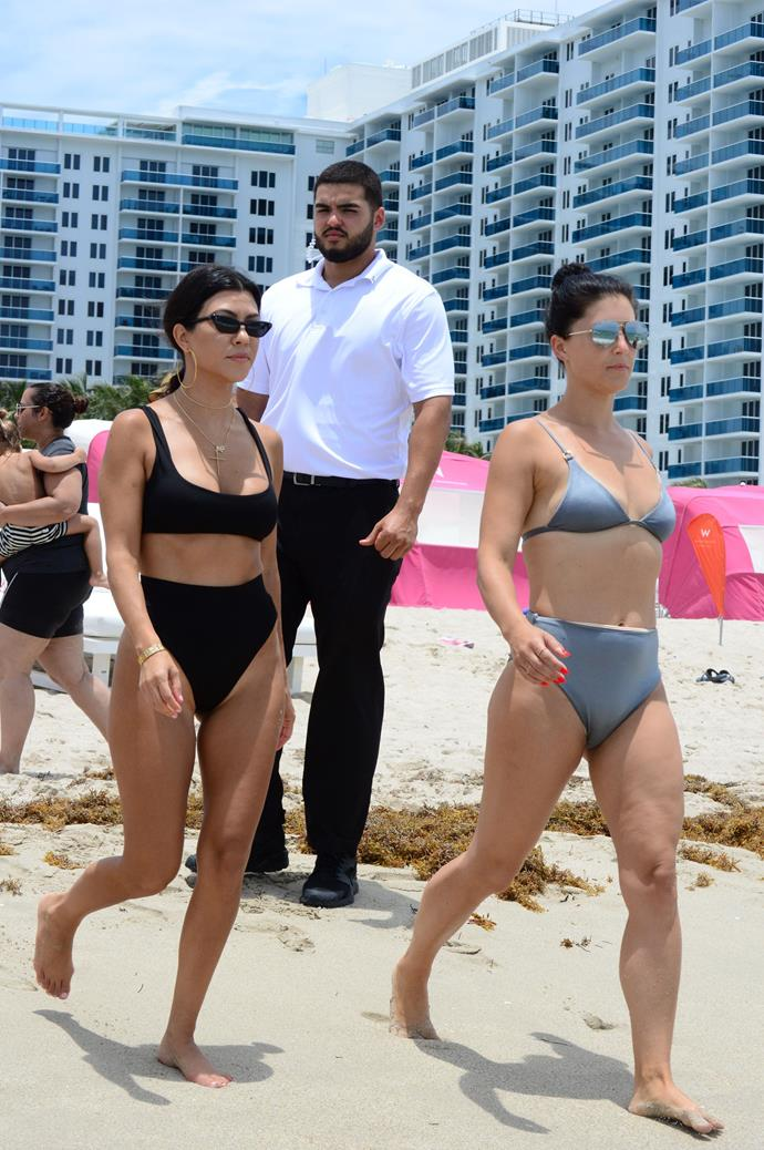 **KOURTNEY KARDASHIAN** <br><br> Also in Miami, Kourtney and a friend wore matching high-waisted two-pieces as they strolled to the ocean to take a dip. <br><br> **Image: Getty**
