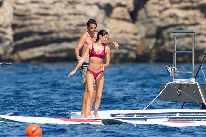 **SARA SAMPAIO** <br><br> The Victoria's Secret model donned a crimson two-piece while paddleboarding in Ibiza with boyfriend Oliver Ripley. <br><br> **Image: Getty**