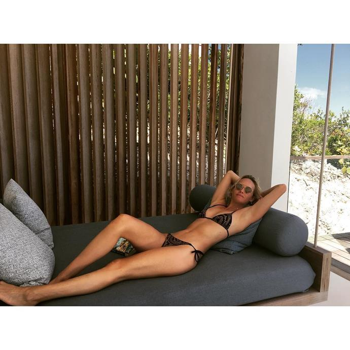**AMBER VALLETTA** <br><br> Supermodel Amber looked chilled out in this picture she Instagrammed in the Turks & Caicos Islands in August. <br><br> **Image: Instagram *@ambervalletta***