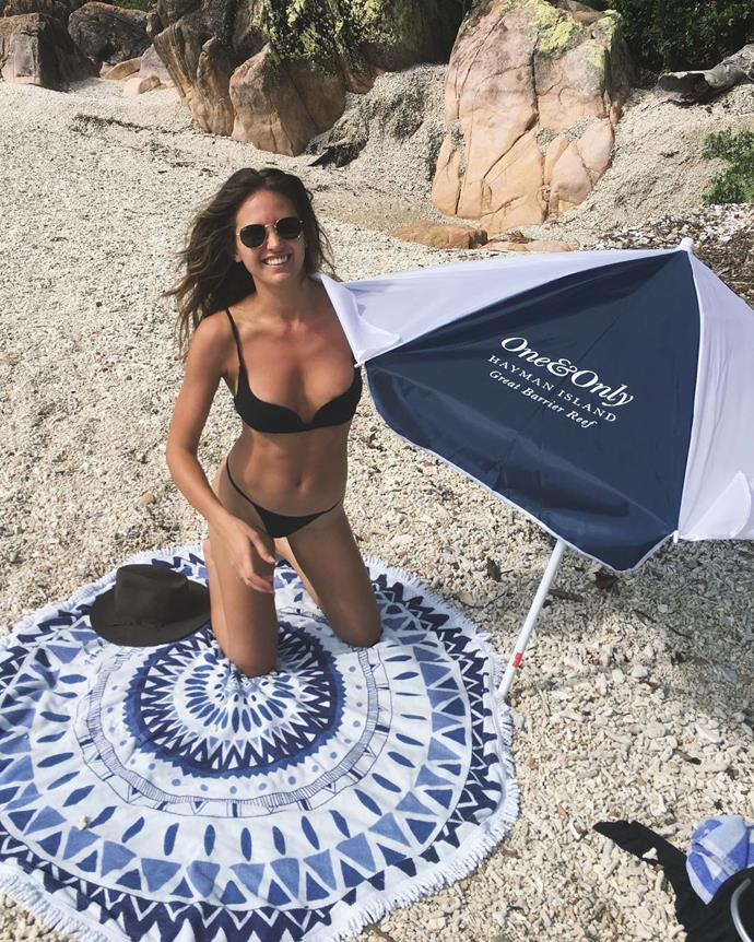 **JESINTA FRANKLIN** <br><br> On a trip to Hayman Island earlier this year, Jesinta kept it simple with a black, lingerie-reminiscent bikini.  <br><br> **Image: Instagram *@jesintafranklin***