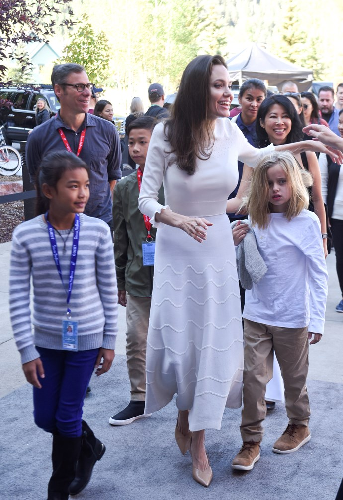 With daughter Vivienne Jolie-Pitt at the Telluride Film Fesitval, September 2nd 2017.