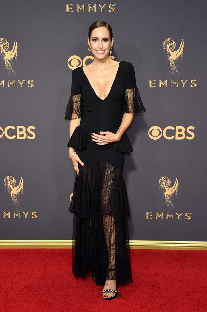 Louise Roe in Adeam and Stuart Weitzman shoes
