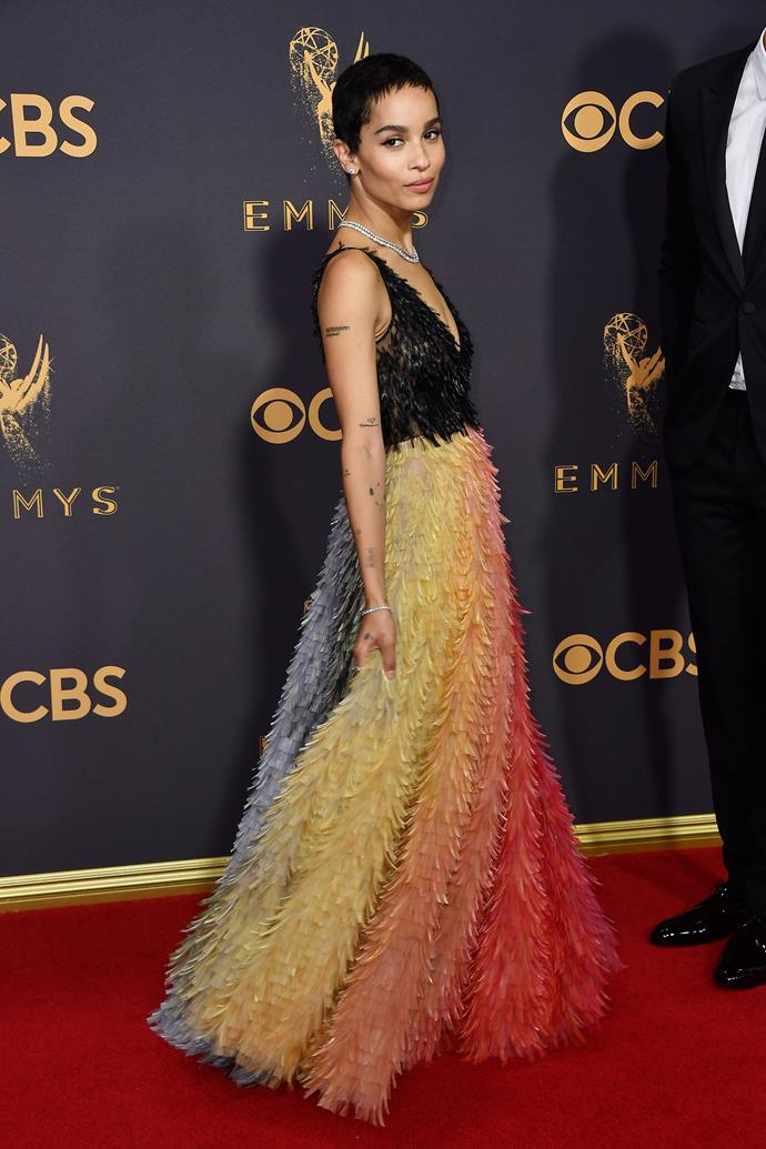 Zoe Kravitz in Dior haute couture and Tiffany & Co. jewels