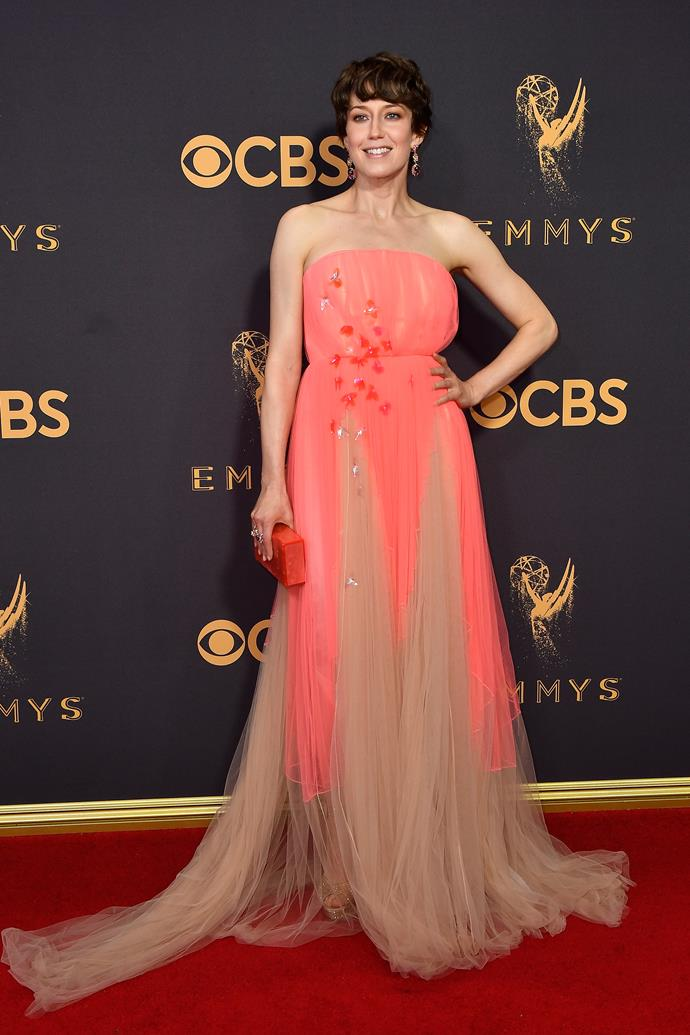 Carrie Coon in Delpozo and Stuart Weitzman shoes