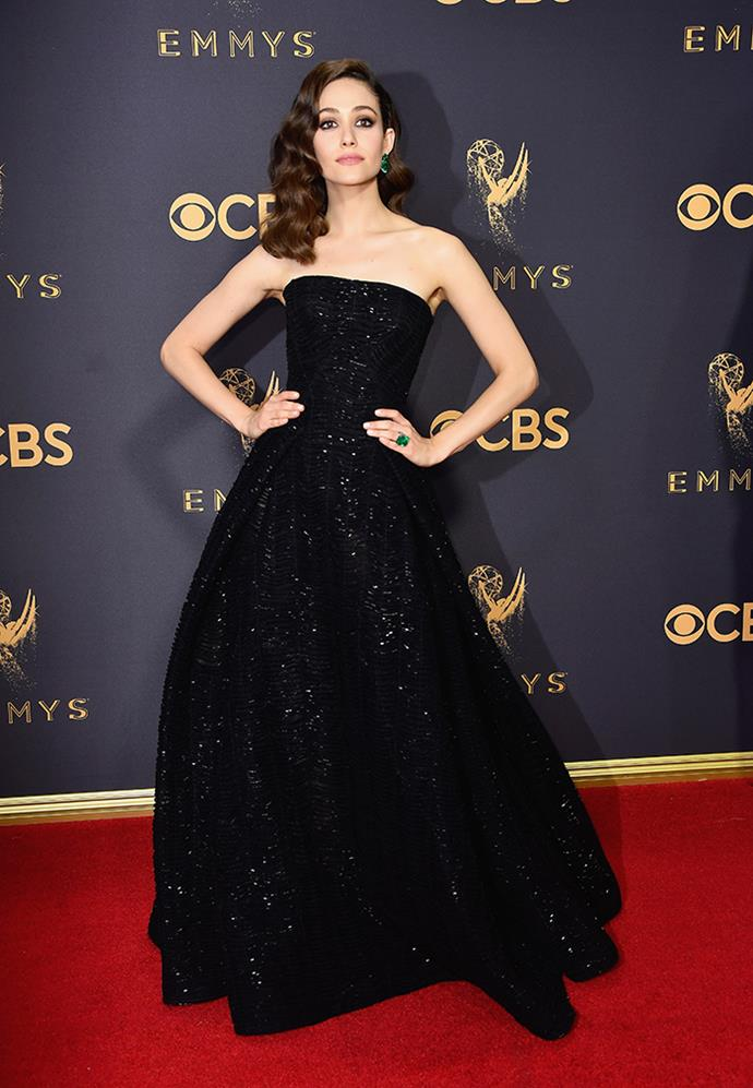 "**Emmy Rossum in Zac Posen:**   ""While wearing black to an awards show can mean you get lost in the crowd, Emmy's twinkling black Zac Posen (Emmy, ha!) gown is tasteful, understated and absolute class. "" — Natasha Harding, digital fashion writer"